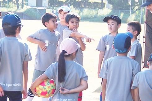 サッカースクールの子供たちの写真