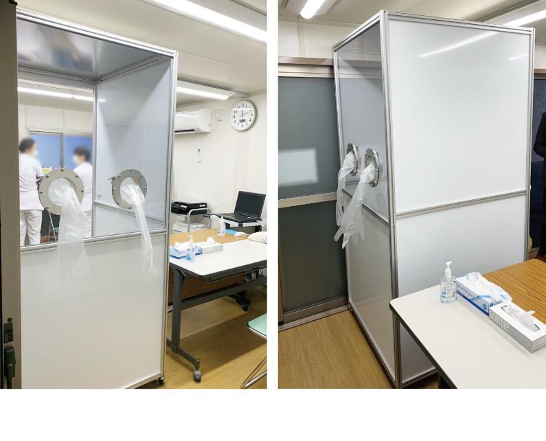 飛沫感染対策にPCR検査用ボックス